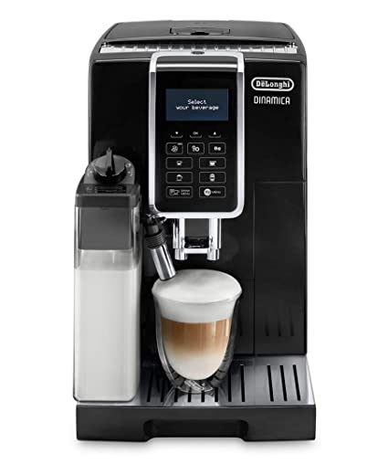 Delonghi super-automatic espresso coffee machine with an adjustable grinder, double boiler, milk