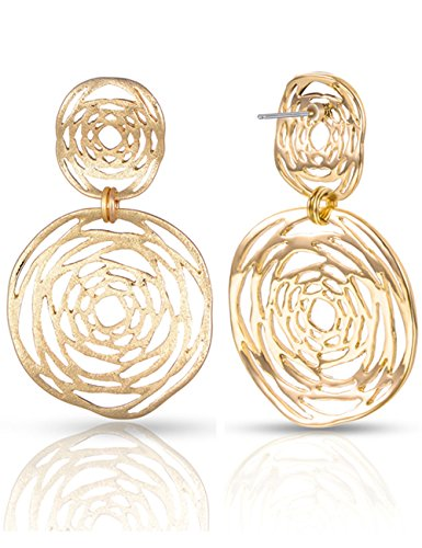 XZP Sterling Silver Pin Hollow Out Flower Pendant Women Drop Earring 14k Gold Plated Fashion Filigree Jewelry Metal Dangle (14k Gold Flower Pin)