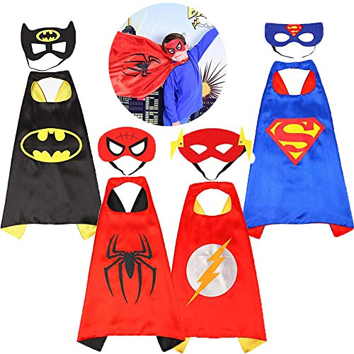 Superhero Capes Kids Dress up Costumes with Masks Best Gifts for Boys Girls Birthday Cosplay Party 4PCS