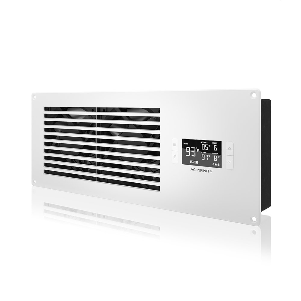 AC Infinity AIRFRAME T7 White, High-Airflow Cooling Fan System 16'', Exhaust Airflow, for AV Equipment Rooms, Closets, and Enclosures