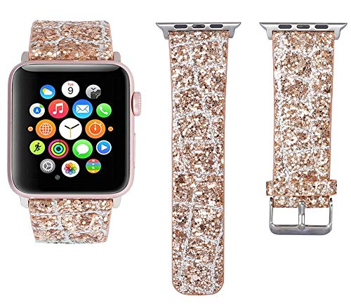 FIRMIA Compatible for Apple Watch Band 38mm 40mm/42mm 44mm,iWatch Strap Bling Shiny Glitter Leather Bracelet Wristband Compatible for iWatch Series 4/3/2/1 Comfortable EDI(Rose Gold&Silver, 38mm)