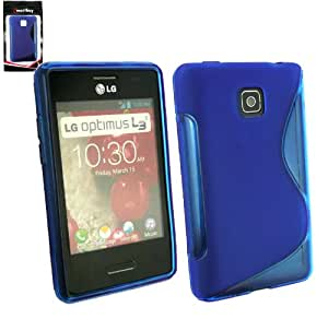 Emartbuy® LG Optimus L3 II E430 LCD Screen Protector And Wave Pattern Gel Skin Cover Blue