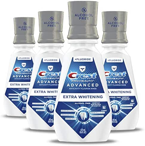Crest ProHealth Advanced Mouthwash With Extra Whitening Energizing Mint Flavor 14.8 fl oz. Pack of 4