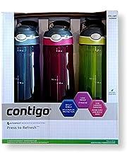 Contigo Autospout with Straw Reusable Water Bottle, 709ml, 3 Pack, 3 Colours