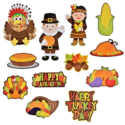 Thanksgiving Bulletin Board Decorations (Gift Boutique Thanksgiving Cutouts Hanging Wall Decorations 24 Pack Fall Banner Happy Harvest Autumn Sign Turkey Pumpkin Leaf Party Favor)