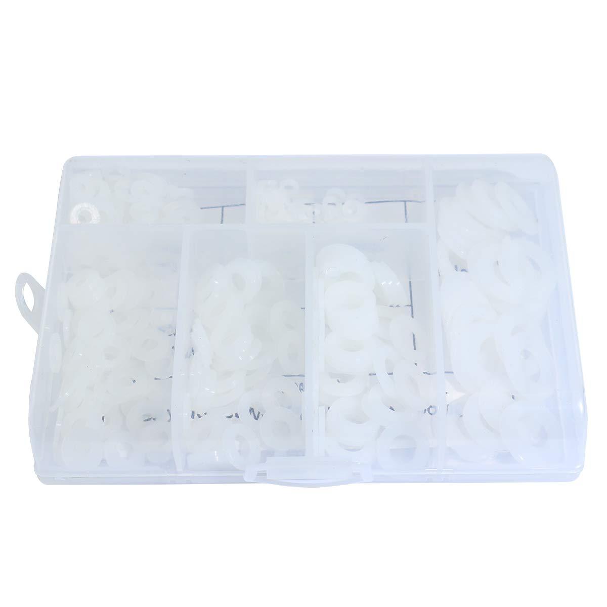 M2.5 M3 M4 M5 M6 M8 Boeray 330pcs Metric Black Nylon Plastic Washer Flat Washer Assortment Kit