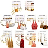63 Pairs Colorful Earrings with Tassel Earrings Layered Ball Dangle Hoop Stud Jacket Earrings for Women Girls Jewelry Fashion and Valentine Birthday Party Gift: more info