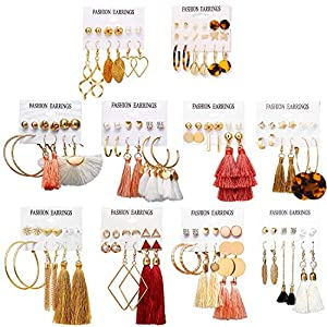 Best Epic Trends 51OUCnt4O1L._SS300_ 63 Pairs Colorful Earrings with Tassel Earrings Layered Ball Dangle Hoop Stud Jacket Earrings for Women Girls Jewelry…