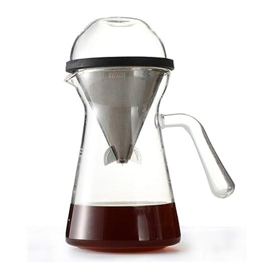 Vertido en una cafetera de café y Vidrio borosilicato y Filtro ...