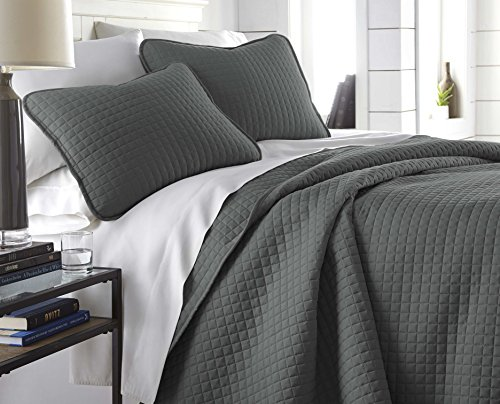Southshore Fine Linens - Vilano Springs Oversized 3 Piece Quilt Set, Full/Queen, Slate