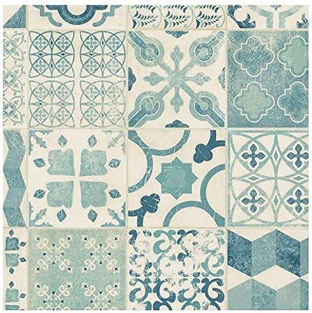 Sol Pvc Lino Imitation Carreaux De Ciment Bleu 2m X 4m Amazon Fr Bricolage