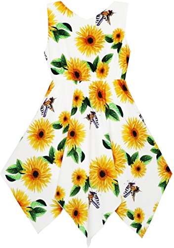 Flower 14 Dress Necklace Size Years Print 7 Girls Yellow Fashion Sunny Hem Hanky with wPCtt