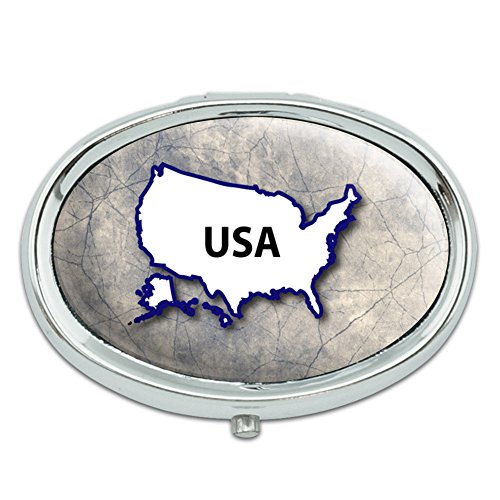 United States USA Country Outline on Faded Blue Metal Oval Pill Case - Oval Outline