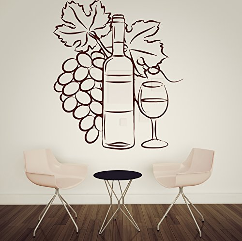 Wall Vinyl Sticker Decor Wine Glass Bottle Cluster of Grapes (n179)(n144 XL 45 in by 56 (Harmony Glass Clusters)