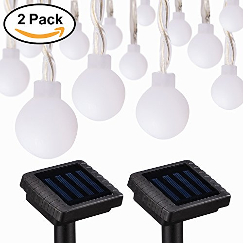 voona Solar Outdoor String Lights - 2-Pack 30ct 20ft Frosted Globes Warm White LED Decoration Strings for Holiday Party Outdoor Garden