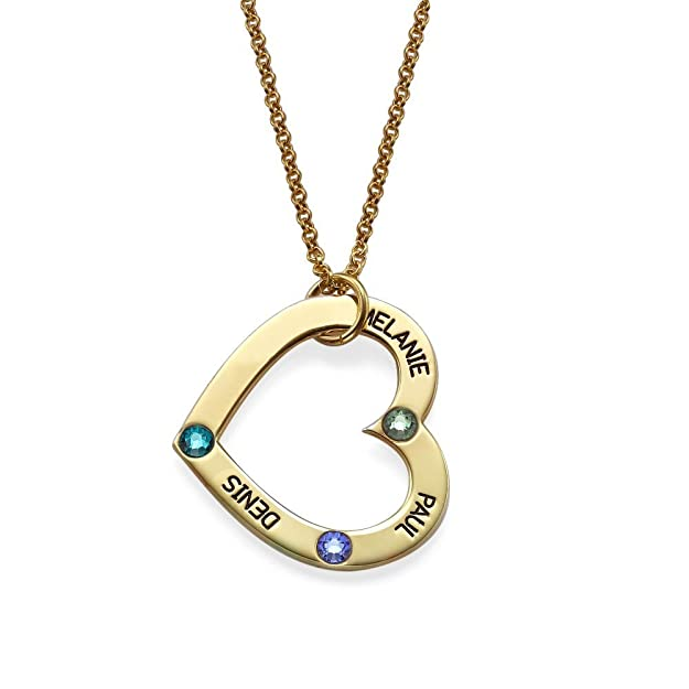 Engraved Open Heart Shape Pendant Necklace with Birthstones in 18K Gold Plating over Silver - Customized with 3 Any NAMES