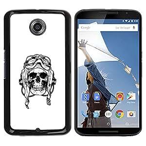 iBinBang / Funda Carcasa Cover Skin Case - Pilot Death War White Black Skull - Motorola NEXUS 6 / X / Moto X Pro