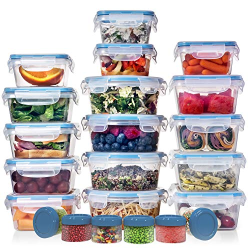 HUGE SET (22 Pack) Food Storage Containers with Lids – Plastic Food Containers with Lids – Airtight Leak Proof, Easy Snap Lock Lunch Box, BPA-Free Plastic Storage Container Set