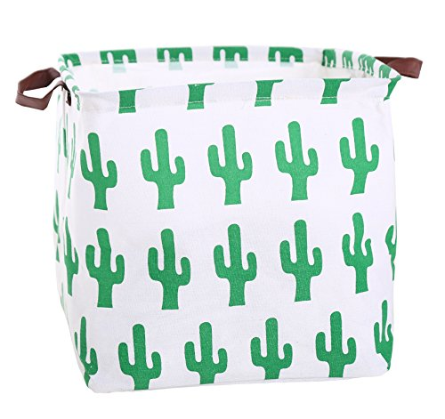 FUNNYGO Canvas Storage Bins Toy Box Square Collapsible Waterproof Nursery Hamper for Laundry,toy organizer, kids hamper,baby room decor (Green cactus) from FUNNYGO