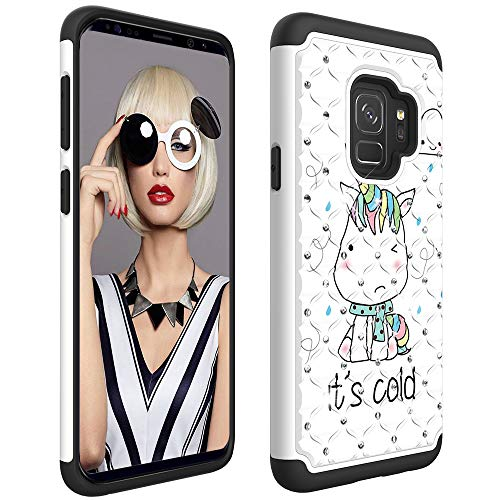 Galaxy S9 Case, Dooge Bling Sparkly Diamond Case Dual Layer Full Body Armor Defender Anti-Scratch Shockproof Protective Rugged Holster Case for Samsung Galaxy S9 (Pattern Ribbed Grade)