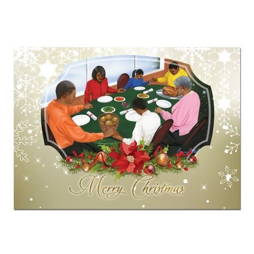 African American Expressions - Family at Dinner Boxed Christmas Cards (15 cards, 5