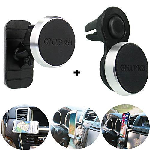 (Magnetic Phone Holder Car Air Vent Mount,OHLPRO 2-in-1Universal Stick On Car Dashboard Cradle Metal Aluminum Frame for iPhone Samsung Sony Google All 4