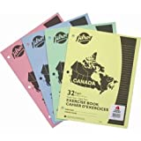 Hilroy Canada Stitched Exercise Book, 3 Hole Punched, 4 Pack, 32 Pages, Assorted Color Covers