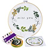 #6: Caydo Miss You Embroidery Patterns Counted Cross Stitch Kit Handmade Needlework Embroidery Kits for Beginner