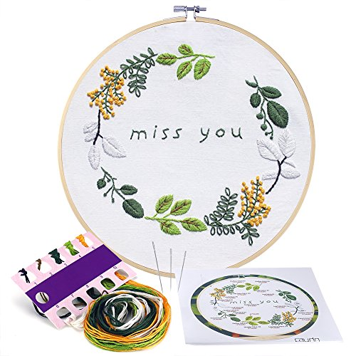 Caydo Miss You Embroidery Patterns Counted Cross Stitch Kit Handmade Needlework Embroidery Kits for Beginner