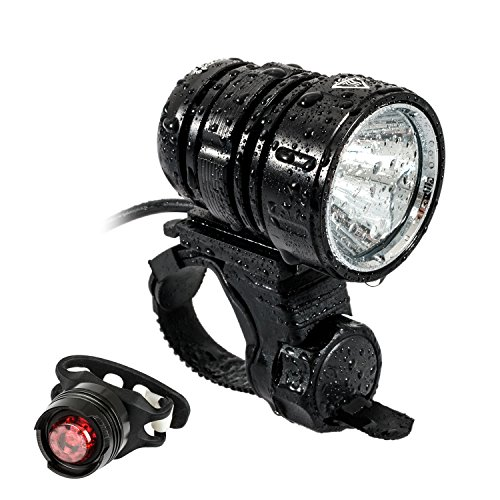 LED Bike Light, Leyic USB Rechargeable Bike Lights Front Headlight Headlamp 1200 Lumens Flashing Light Waterproof 4 Modes with 4400mah Battery Pack and Safety Taillight Included