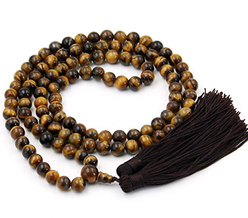 OVALBUY 8mm Tiger Eye Beads Rosary Prayer Meditation 108 Japa Mala ()