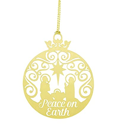 peace on earth brass nativity christmas ornament 2 14 inch pack of