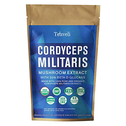 Cheap Organic Cordyceps Mushroom Powder Militaris Extract w/ 30% Beta Glucans| USDA Certified, Lab Tested Superfood Supplement from Fruiting Bodies | Enhanced Endurance & Performance |65 grams, 65 Servings