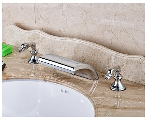 Gowe Chrome Finished Deck Mounted Waterfall Spout Bathroom Sink Faucet Widespread 3pcs Mixer Tap 1