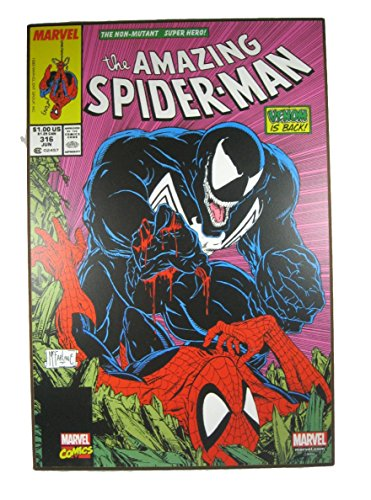 "Silver Buffalo The Amazing Spider-Man: ""Venom is Back"" Wood Wall Art 19"" x 13"""