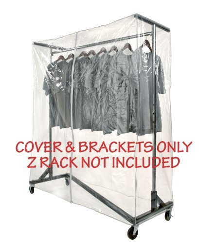 Clear Z Rack Cover with Zipper and Bracket Combo Kit for M10 Series of Standard, Professional or Deluxe 5' Wide Z Racks. Z Racks Sold Separately. by Metropolitan Display