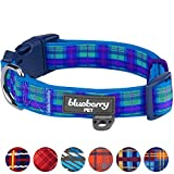 Blueberry Pet Soft & Comfy Scottish Hudson Blue Plaid Tartan Style Designer Padded Dog Collar, Large, Neck 45cm-66cm, Adjustable Collars for Dogs