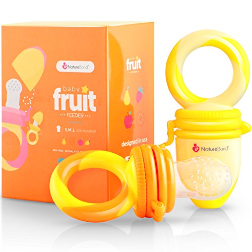 NatureBond Baby Food Feeder / Fruit Feeder Pacifier (2 PCs) - Infant Teething Toy Teether in Appetite Stimulating Colors | BONUS Includes All Sizes Silicone Sacs (Sunshine Orange & Lemonade Yellow)