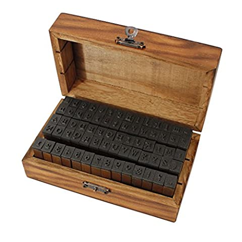 70 Piece Alphabet Stamps in a Vintage Style Wooden Storage Box by Kurtzy - Rubber Letter, Number & Symbol Ink Stamp Set - For DIY Craft, Card Making & Scrapbooking - The Best Set for Adults and - Magnetic Circle Cutter