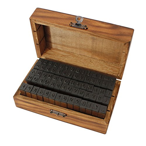 70 Piece Alphabet Stamps in a Vintage Style Wooden Storage Box by Kurtzy - Rubber Letter, Number & Symbol Ink Stamp Set - For DIY Craft, Card Making & Scrapbooking - The Best Set for Adults and Kids (Abcs Memory Box)