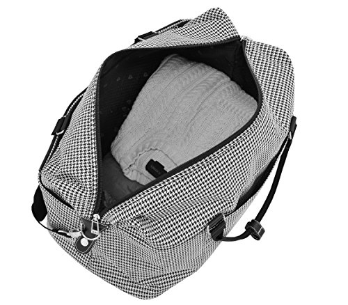 "51OUGZ%2BzBcL - London Fog Cambridge II 20"" Duffle, Black White Houndstooth"