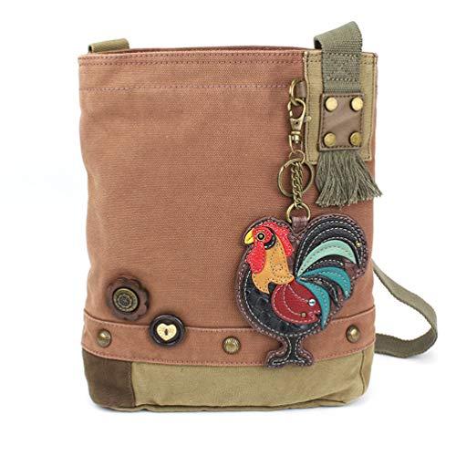 (Chala Patch Cross-Body Women Handbag, Canvas Messenger Bag - Mauve (Rooster))