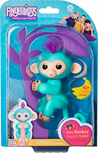 Fingerlings   Interactive Baby Monkey For Kids Toy   2 Pack Zoe  Turquoise With Purple Hair And Boris  Blue With Orange Hair