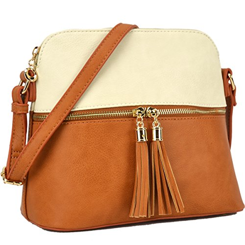 Tassel Medium Lightweight Beige Crossbody Tan with Cute DASEIN Purses Handbags Bags 7qFx858U