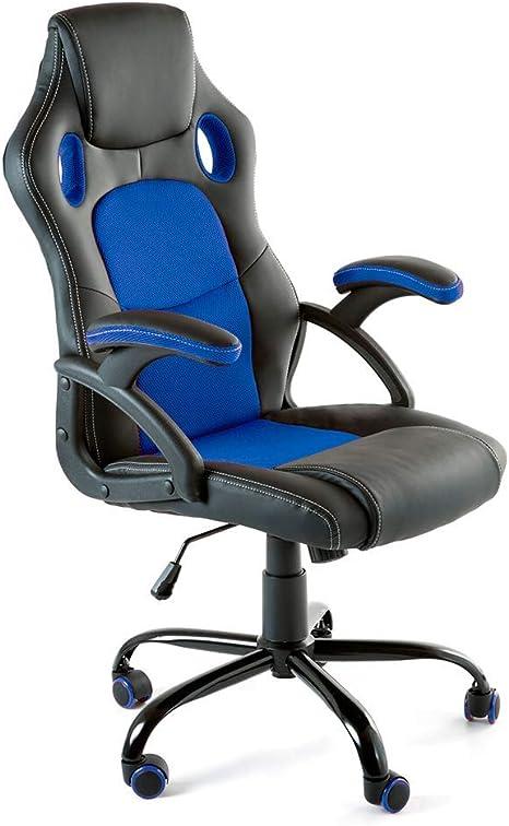 Todo para el streamer: CAMBIA TUS MUEBLES - Silla Gaming X-One sillón Giratorio de Oficina despacho Escritorio, en Negro Rojo Azul y Gris (Azul)