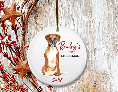 New Dog mom Christmas ornament, Baby's 1st Christmas, Boxer puppy - Dated (New Boxer Puppy)