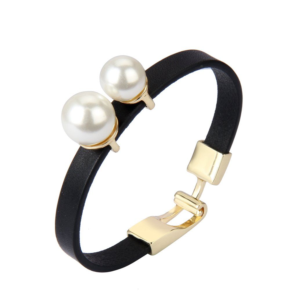Jenia Women Leather Wrap Bracelet Italian Wristband Pearl Cuff Bangle Handmade Jewelry for Ladies, Mother, Teens Girls Gift with Cuff-links Closure