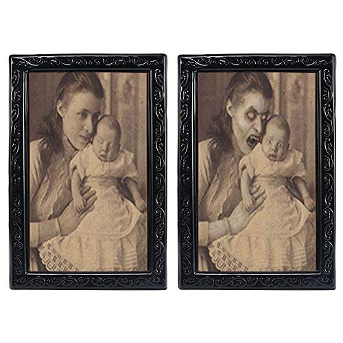Halloween Lenticular 3D Changing Face Horror Portrait,KOBWA Haunted Spooky Halloween Decorative Painting Frame Props -