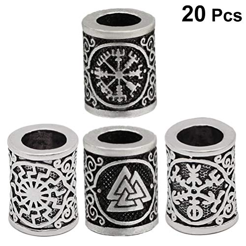 Lurrose Viking Rune Beads Loose Ancient Silver Bronze Beads for Jewelry Findings Bracelet Hair Accessories 20pcs