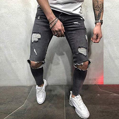 Neri Pantaloni Strappati Especial Lunghi Aderenti Slim Uomo Fit Estilo Grau Da Jeans qtwtxpSrf